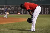 Boston Red Sox designated hitter David Ortiz reacts after hitting into a double play in the bottom of the ninth inning with bases loaded The Boston...