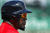 Boston Red Sox designated hitter David Ortiz waits to bat against the Tampa Bay Rays during a Spring Training game Friday March 4th 2016 at JetBlue...
