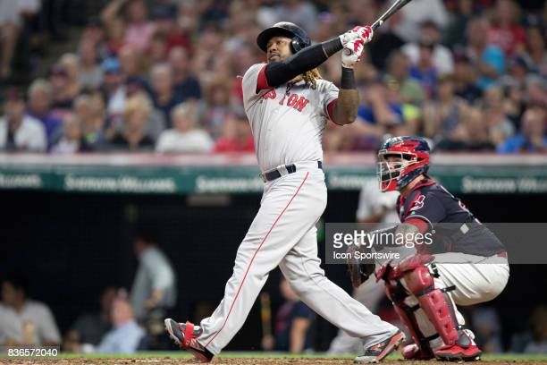 Boston Red Sox designated hitter Hanley Ramirez belts a 2run home run during the fifth inning of the Major League Baseball game between the Boston...