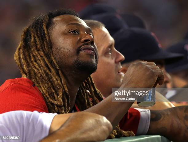 Boston Red Sox designated hitter Hanley Ramirez enjoys the game from the bench in the dugout The Boston Red Sox host the Toronto Blue Jays in the...