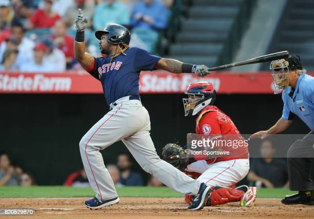 Boston Red Sox designated hitter Hanley Ramirez hits a single in the first inning of a game against the Los Angeles Angels of Anaheim on July 21...