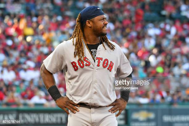 Boston Red Sox Designated hitter Hanley Ramirez looks on during an MLB game between the Boston Red Sox and the Los Angeles Angels of Anaheim on July...