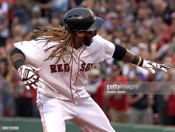 Boston Red Sox designated hitter Hanley Ramirez reacts after his double in the seventh inning The Boston Red Sox host the Houston Astros in Game...