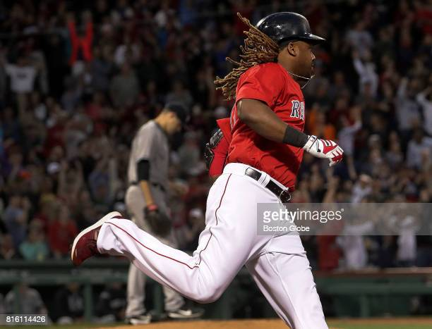 Boston Red Sox designated hitter Hanley Ramirez rounds first base en route to touching them all after hitting a tworun home run during the third...