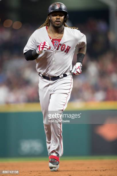 Boston Red Sox designated hitter Hanley Ramirez rounds the bases after hitting a 2run home run during the fifth inning of the Major League Baseball...