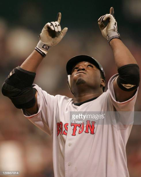 Boston Red Sox DH David Ortiz is thankful after a monster home run in the eighth inning during Sunday's game against the Tampa Bay Devil Rays on...