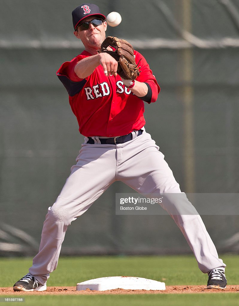 Boston Red Sox Duntin Pedroia turns a double play throw during the first official spring training day for the Boston Red Sox pitchers and catchers at JetBlue Park on Tuesday, Feb. 12, 2013.