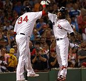 Boston Red Sox first baseman Hanley Ramirez and Boston Red Sox designated hitter David Ortiz celebrate Ramirez' threerun home run during the second...