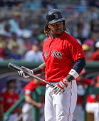 Boston Red Sox first baseman Hanley Ramirez bats against the Tampa Bay Rays during a Spring Training game Friday March 4th 2016 at JetBlue Park in...