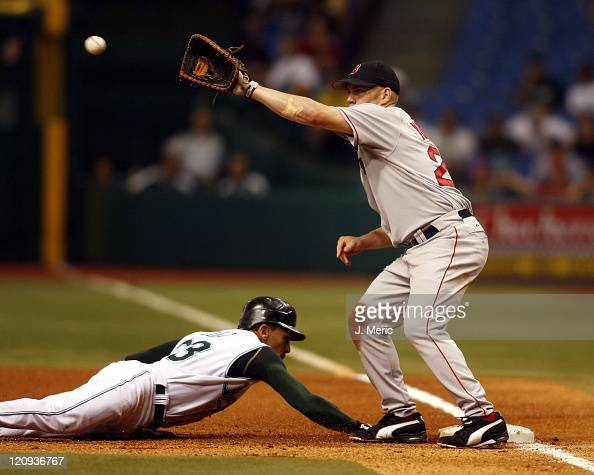 Boston Red Sox first baseman Kevin Youkilis takes the throw as Tampa Bay Devil Rays' Julio Lugo gets back to first in Wednesday night's action at...