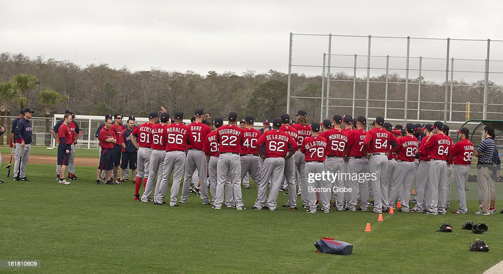 Boston Red Sox first full squad team workout. Day four of spring training at the Red Sox training facilities at JetBlue Park on Friday, Feb. 15, 2013.