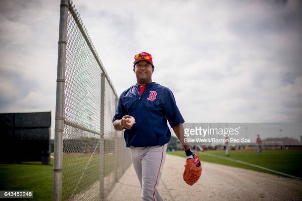 Boston Red Sox Hall of Famer Pedro Martinez smiles during a team spring training workout on February 21 2017 at Fenway South in Fort Myers Florida