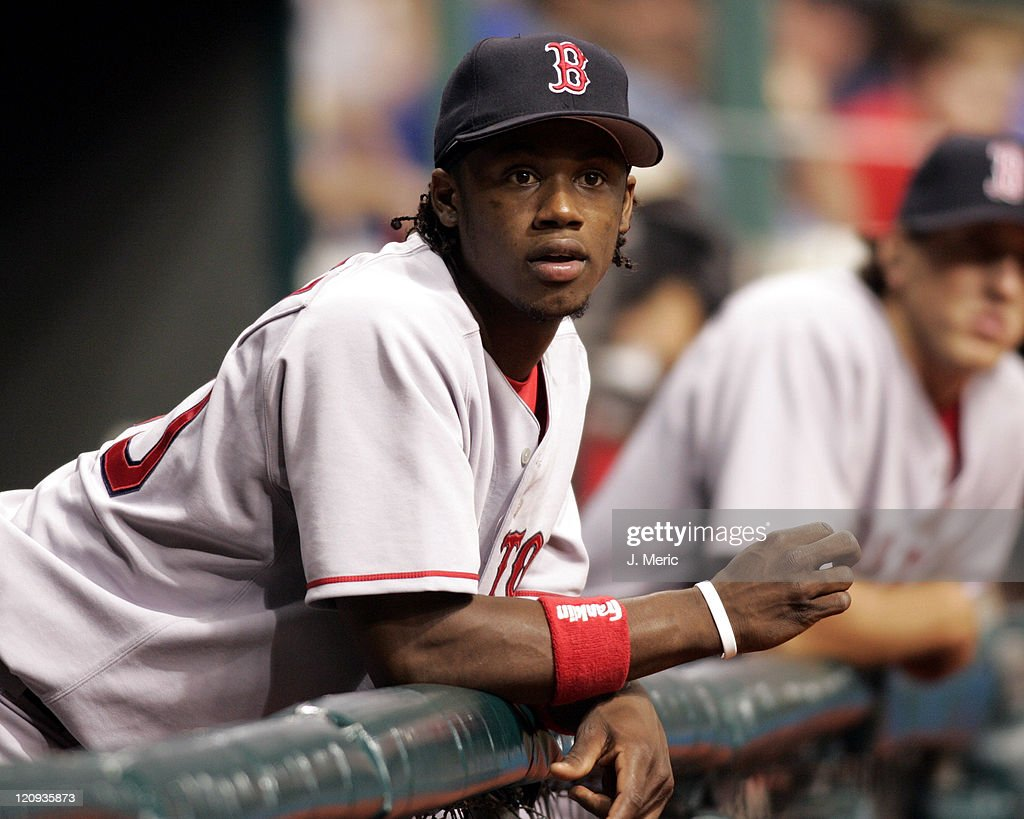 Boston Red Sox infielder, <a gi-track='captionPersonalityLinkClicked' href=/galleries/search?phrase=Hanley+Ramirez&family=editorial&specificpeople=538406 ng-click='$event.stopPropagation()'>Hanley Ramirez</a>, watches Wednesday night's game against the Tampa Bay Devil Rays at Tropicana Field in St. Petersburg, Florida on September 21, 2005.