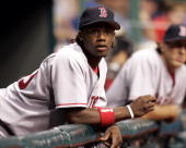 Boston Red Sox infielder Hanley Ramirez watches Wednesday night's game against the Tampa Bay Devil Rays at Tropicana Field in St Petersburg Florida...