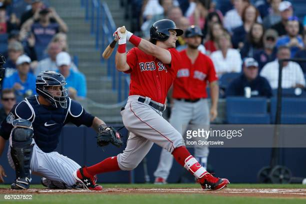 Boston Red Sox left fielder Andrew Benintendi at bat during the Spring Training game between the Boston Red Sox and New York Yankees on March 21 at...