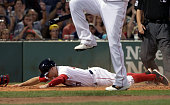 Boston Red Sox left fielder Brock Holt slides safely into home plate scoring on a wild pitch for ball four to Boston Red Sox designated hitter David...