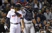 Boston Red Sox left fielder Hanley Ramirez hit by pitch 6th inning New York Yankees vs Boston Red Sox at Fenway Park Boston MA Sunday May 3 2015