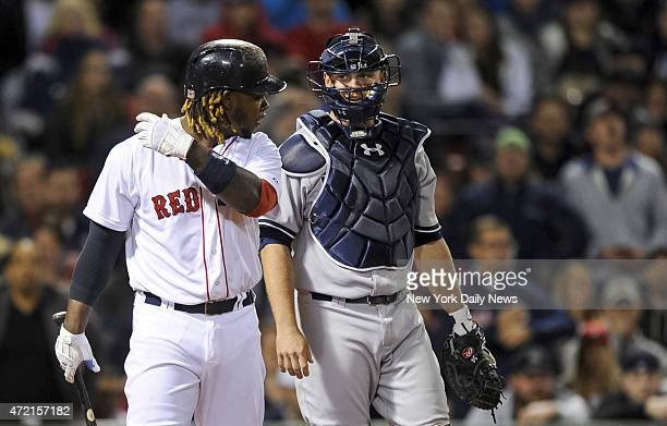 Boston Red Sox left fielder Hanley Ramirez hit by pitch 6th inning New York Yankees vs Boston Red Sox at Fenway Park Boston MA Sunday May 3 2015