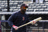 Boston Red Sox left fielder Jackie Bradley prepares to take batting practice The Boston Red Sox play the New York Yankees at Yankee Stadium during...