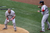 Boston Red Sox left fielder Jonny Gomes was pumped after he and Boston Red Sox catcher Jarrod Saltalamacchia scored on an infield single in the ninth...