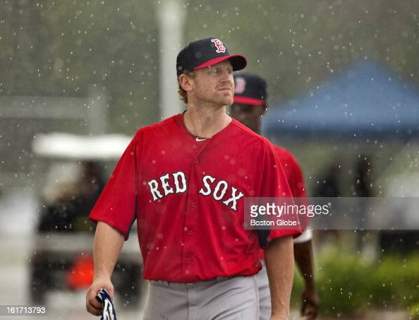 Boston Red Sox Lyle Overbay walks from the batting cage back to their clubhouse after practice Day three of spring training at the Red Sox training...