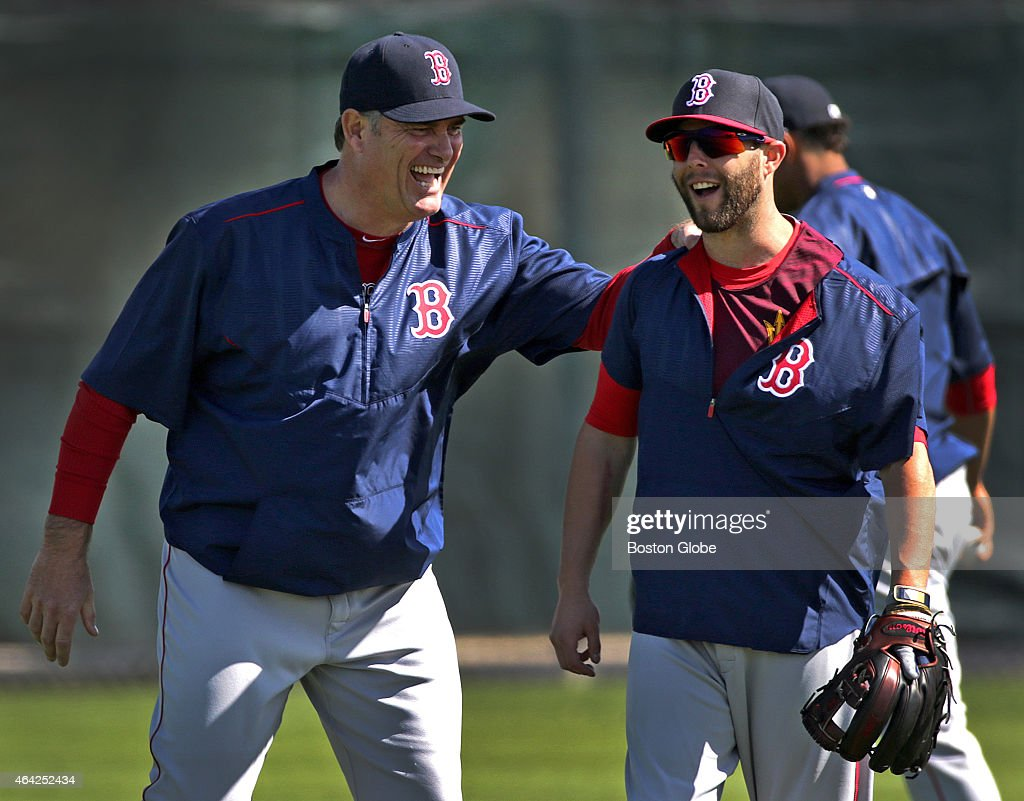 Boston Red Sox manager <a gi-track='captionPersonalityLinkClicked' href=/galleries/search?phrase=John+Farrell+-+Treinador+de+basebol&family=editorial&specificpeople=10307520 ng-click='$event.stopPropagation()'>John Farrell</a> and Boston Red Sox second baseman <a gi-track='captionPersonalityLinkClicked' href=/galleries/search?phrase=Dustin+Pedroia&family=editorial&specificpeople=836339 ng-click='$event.stopPropagation()'>Dustin Pedroia</a> share a laugh today on the field during an informal workout. The Boston Red Sox today extended manager <a gi-track='captionPersonalityLinkClicked' href=/galleries/search?phrase=John+Farrell+-+Treinador+de+basebol&family=editorial&specificpeople=10307520 ng-click='$event.stopPropagation()'>John Farrell</a>s contract through the 2017 season with a club option for 2018. <a gi-track='captionPersonalityLinkClicked' href=/galleries/search?phrase=Dustin+Pedroia&family=editorial&specificpeople=836339 ng-click='$event.stopPropagation()'>Dustin Pedroia</a> made his first appearance today in camp.