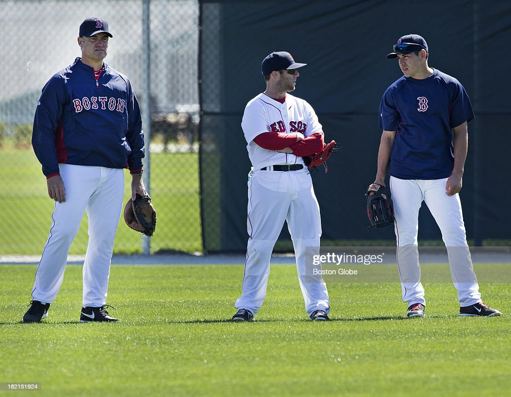 Boston Red Sox manager John Farrell, left, player Dustin Pedroia, center, and player Jacoby Ellsbury, right, in the outfield during Red Sox spring training at JetBlue Park on Sunday, Feb. 17, 2013.