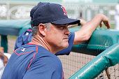 Boston Red Sox manager John Farrell looks on against the Minnesota Twins during a spring training game at JetBlue Park at Fenway South on March 2...