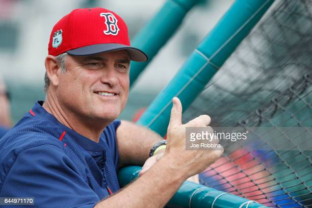 Boston Red Sox manager John Farrell looks on before the game against the New York Mets at JetBlue Park at Fenway South on February 24 2017 in Fort...