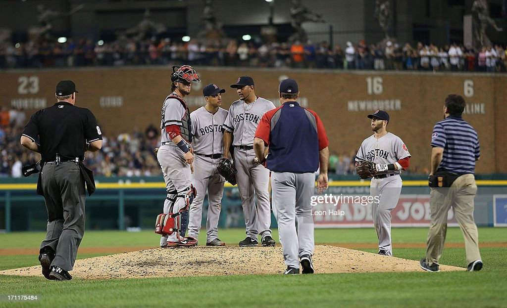 Boston Red Sox manager John Farrell #53 walks to the mound during the seventh inning to check on pitcher <a gi-track='captionPersonalityLinkClicked' href=/galleries/search?phrase=Franklin+Morales&family=editorial&specificpeople=4175198 ng-click='$event.stopPropagation()'>Franklin Morales</a> #56 during the game against the Detroit Tigers at Comerica Park on June 22, 2013 in Detroit, Michigan. The Tigers defeated the Red Sox 10-3.