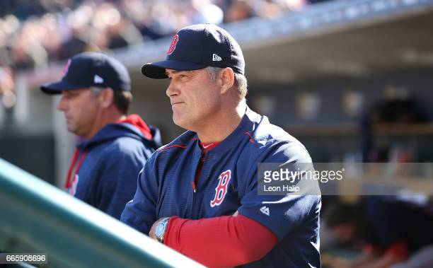 Boston Red Sox manager John Farrell watches the action during the eighth inning of the opening day game against the Detroit Tigers on April 7 2017 at...