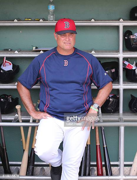 Boston Red Sox manager John Farrell watches the pregame drills prior to the start of the Spring Training Game against the Pittsburgh Pirates on March...