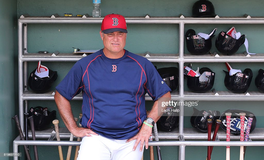 Boston Red Sox manager <a gi-track='captionPersonalityLinkClicked' href=/galleries/search?phrase=John+Farrell+-+Director+de+equipo+de+b%C3%A9isbol&family=editorial&specificpeople=10307520 ng-click='$event.stopPropagation()'>John Farrell</a> #53 watches the pregame warm ups prior to the start of the game against the Pittsburgh Pirates on March 14, 2016 at Jet Blue Park at Fenway South, Florida. The Pirates defeated the Red Sox 3-1.