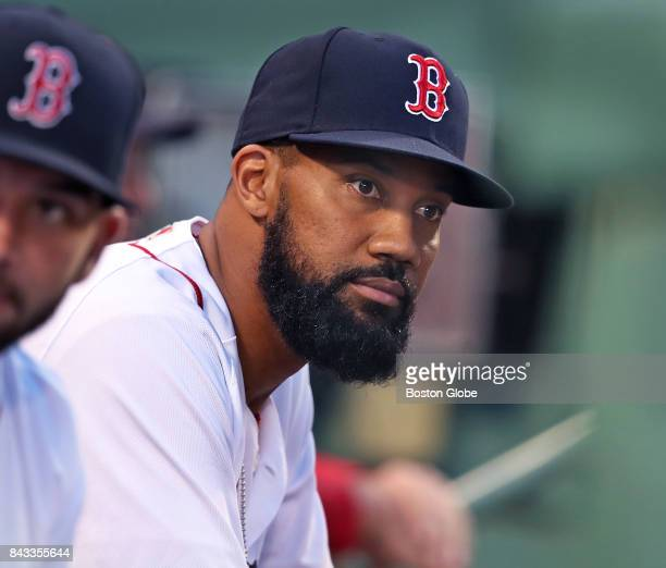 Boston Red Sox outfielder Chris Young is pictured in the dugout before the start of the game The Boston Red Sox host the Toronto Blue Jays in a...