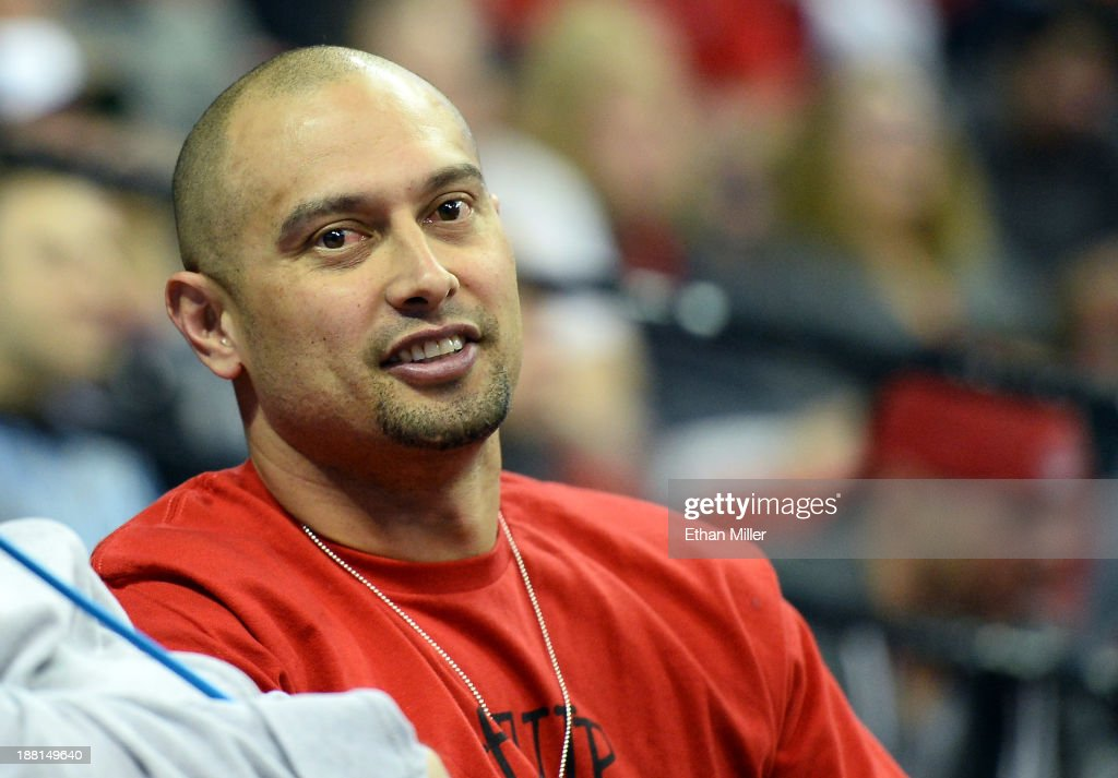 Boston Red Sox outfielder <a gi-track='captionPersonalityLinkClicked' href=/galleries/search?phrase=Shane+Victorino&family=editorial&specificpeople=576251 ng-click='$event.stopPropagation()'>Shane Victorino</a> watches a game between the Nebraska-Omaha Mavericks and the UNLV Rebels at the Thomas & Mack Center on November 15, 2013 in Las Vegas, Nevada. UNLV won 73-70.