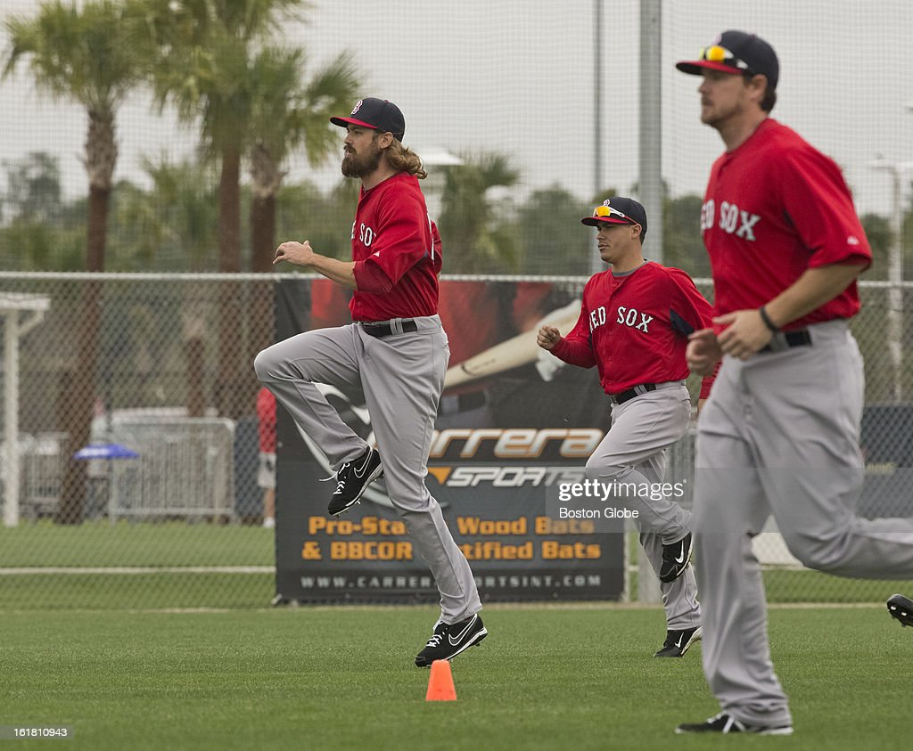 Boston Red Sox pitcher Andrew Miller during the stretching portion of the first full squad team workout. Day four of spring training at the Red Sox training facilities at JetBlue Park on Friday, Feb. 15, 2013.