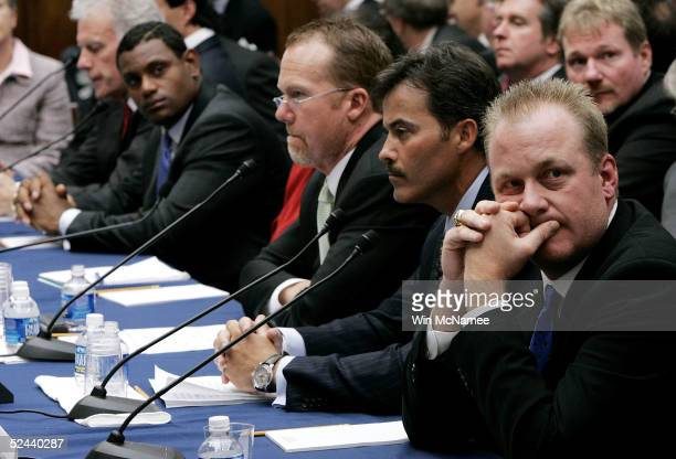 Boston Red Sox pitcher Curt Schilling Rafael Palmeiro of the Baltimore Orioles former St Louis Cardinals Mark McGwire and Sammy Sosa of the Baltimore...
