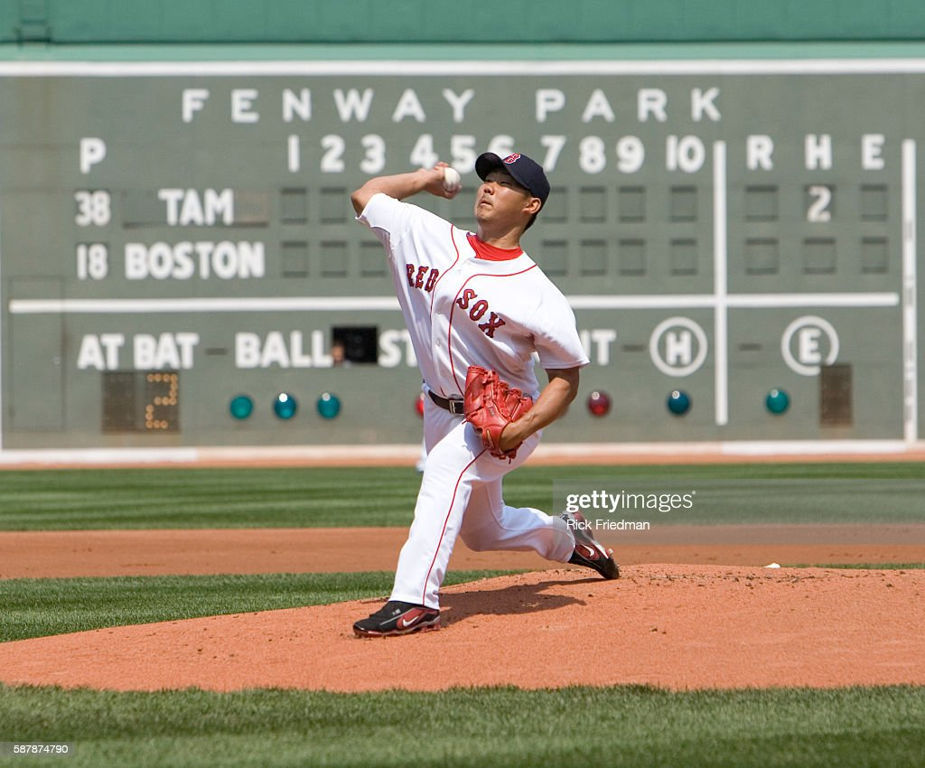 Boston Red Sox pitcher Daisuke Matasuzaka pitching against Tampa Bay Devil Rays' at Fenway Park in Boston Massachusetts on Wednesday August 15 2007
