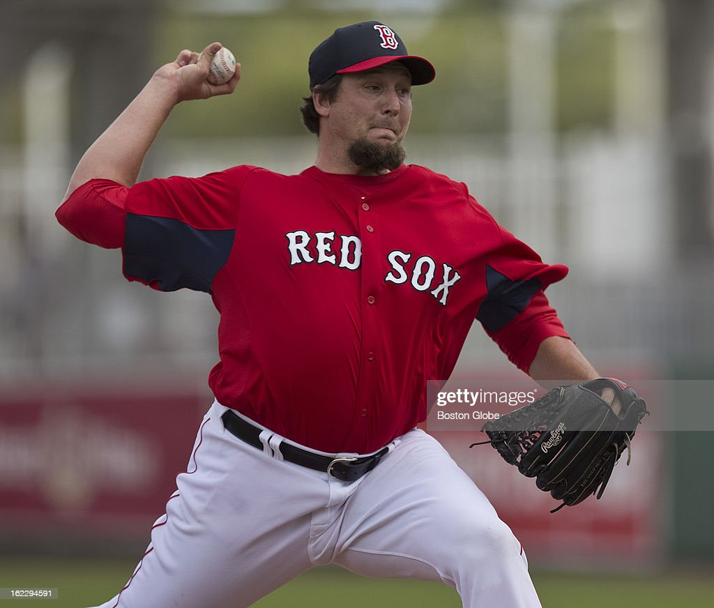 Boston Red Sox pitcher Joel Hanrahan throws a pitch against Northeastern University in an exhibition season opener during spring training at JetBlue Park on Thursday, Feb. 21, 2013.