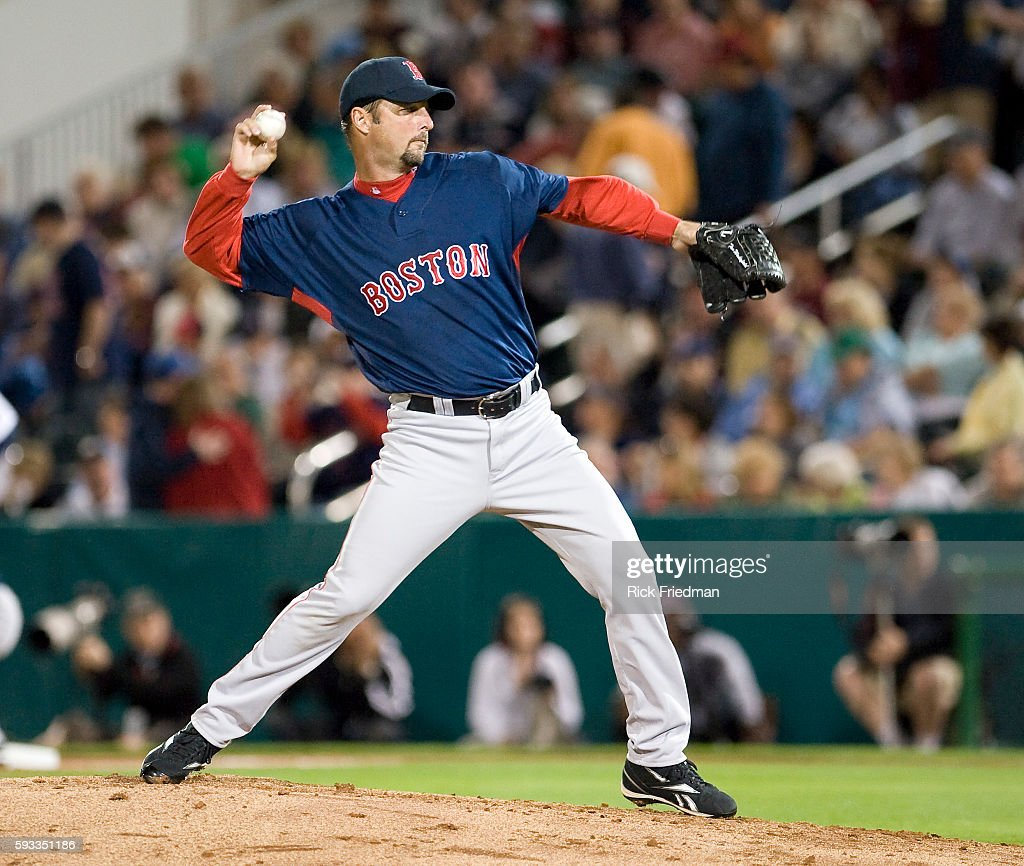 Boston Red Sox pitcher Tim Wakefield pitching against the Minnesota Twins in a Grapefruit League preseason game at the Lee County Sports Complex in...