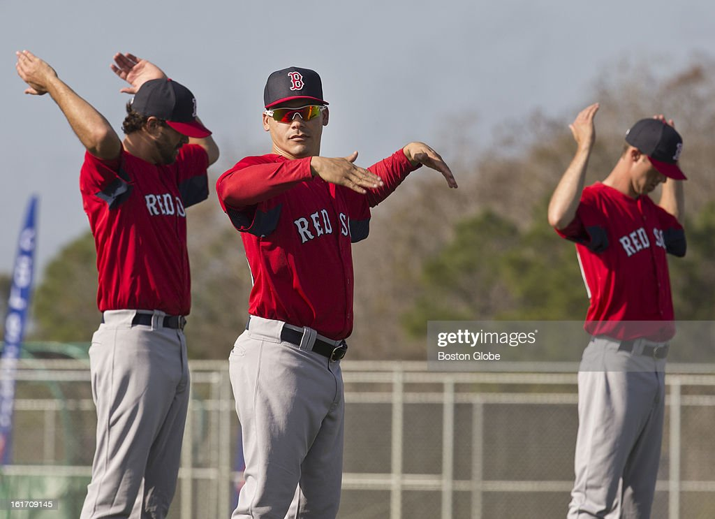 Boston Red Sox pitchers stretch. Day two of spring training at the Red Sox training facilities at JetBlue Park on Wednesday, Feb. 13, 2013.