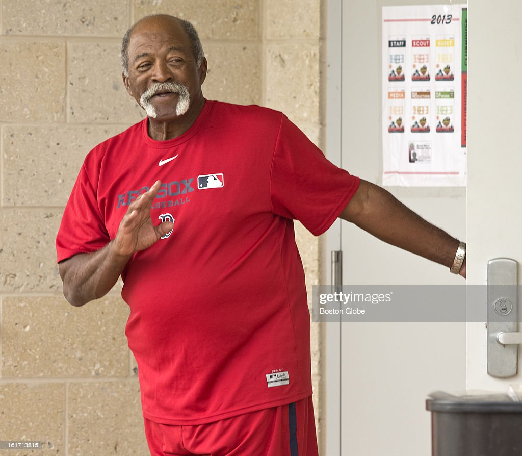 Boston Red Sox pitching advisor Luis Tiant walks out of the clubhouse. Day three of spring training at the Red Sox training facilities at JetBlue Park on Thursday, Feb. 14, 2013.