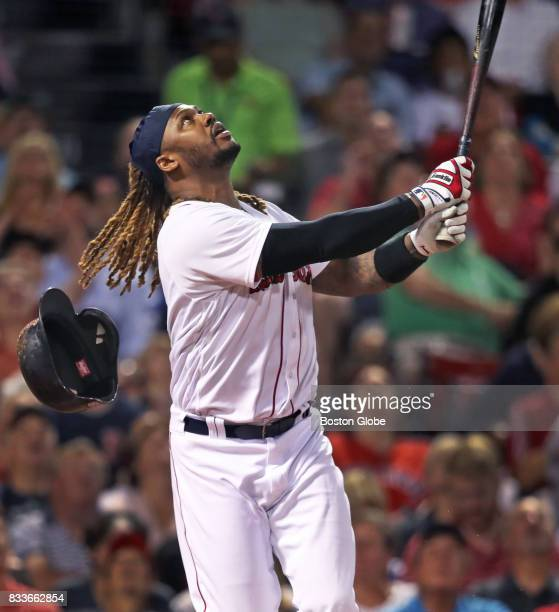 Boston Red Sox player Hanley Ramirez fouls out to Cardinals first baseman Matt Carpenter with two men on base to end the bottom of the fifth inning...