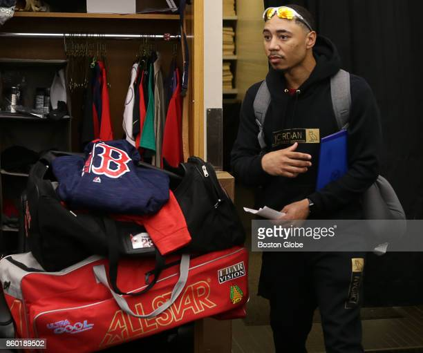 Boston Red Sox player Mookie Betts is pictured as members of the team clean out their lockers at Fenway Park in Boston following the end of the...