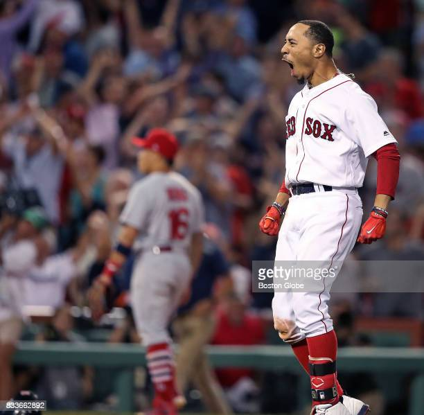 Boston Red Sox player Mookie Betts reacts after seeing teammate Jackie Bradley Jr dive in headfirst with the gamewinning run on his double in the...
