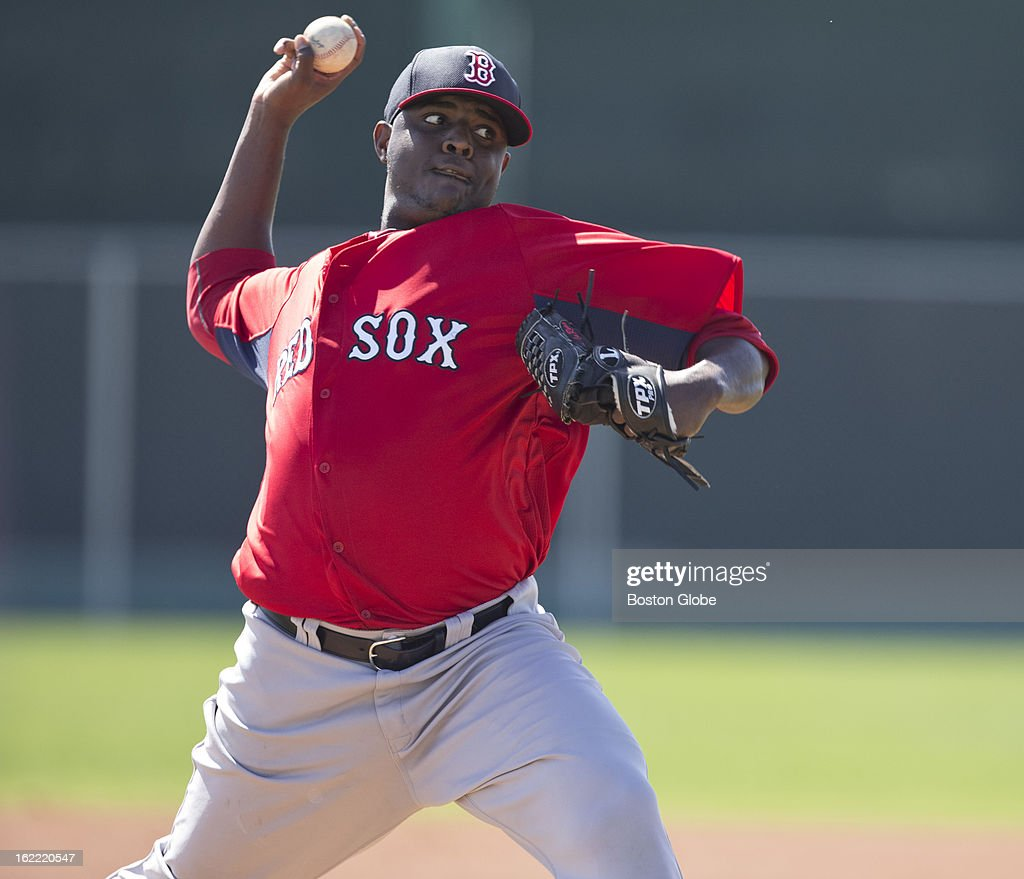 Boston Red Sox player Rubby De La Rosa throws live batting practice during spring training at JetBlue Park on Wednesday, Feb. 20, 2013.