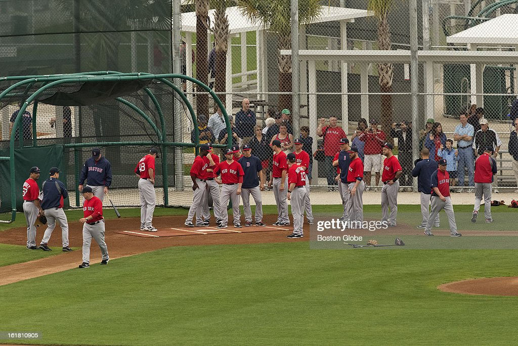 Boston Red Sox players during the first full squad team workout. Day four of spring training at the Red Sox training facilities at JetBlue Park on Friday, Feb. 15, 2013.