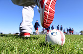 Boston Red Sox players participate in drills during a Spring Training workout at Fenway South in Fort Myers Florida on February 19 2015