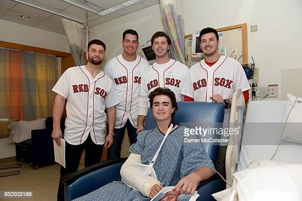 Boston Red Sox players Sam Travis Kyle Martin Ben Taylor and Chandler Shepherd visit Nicholas at Boston Children's Hospital on January 18 2017 in...