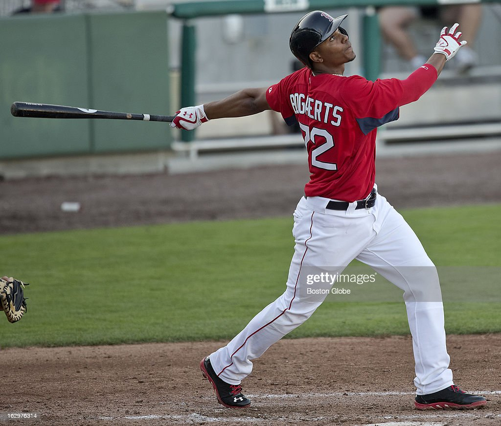 Boston Red Sox prospect Xander Bogaerts bats during an exhibition game against Boston College during spring training at JetBlue Park on Thursday, Feb. 21, 2013.